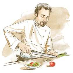 Chef cooking with knife vegetables. Hand drawn vector illustration on artistic watercolor background.