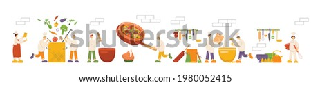 Chef cooks are cooking food, dish on kitchen in restaurant. Funny men and women making soup, pizza, dough. Set dinner preparation process cookers work. Vector illustration isolated on background. EPS Stock photo ©