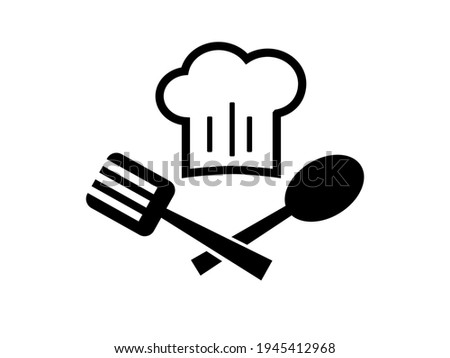 Chef emblem with toque and spoon isolated on a white background. Vector stock  illustration for card or banner Stock photo ©