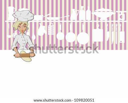 Chef girl cooking delicious meal in restaurant kitchen. Gourmet food.