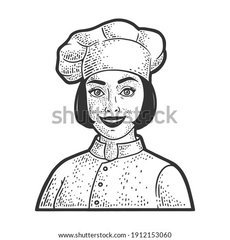 chef girl in chef hat toque sketch engraving vector illustration. T-shirt apparel print design. Scratch board imitation. Black and white hand drawn image. Stock photo ©