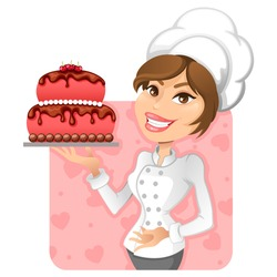 chef girl with a delicious cake
