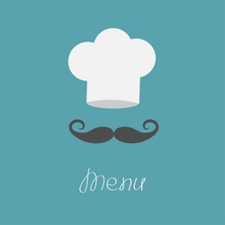 Chef hat and big mustache. Menu card. Flat design style. Vector illustration.