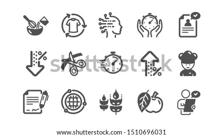 Chef hat, Customer survey, Approved application icons. Scissors cutting, Artificial intelligence icons. Interest rate, gluten free. Classic set. Quality set. Vector