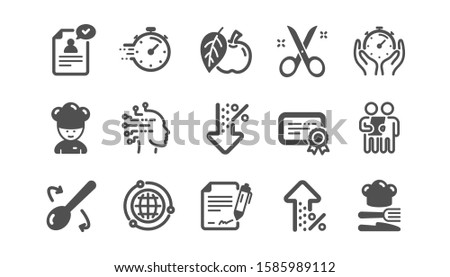 Chef hat, Customer survey, Approved application icons. Scissors cutting, Certificate icons. Interest rate, gluten free. Classic set. Quality set. Vector