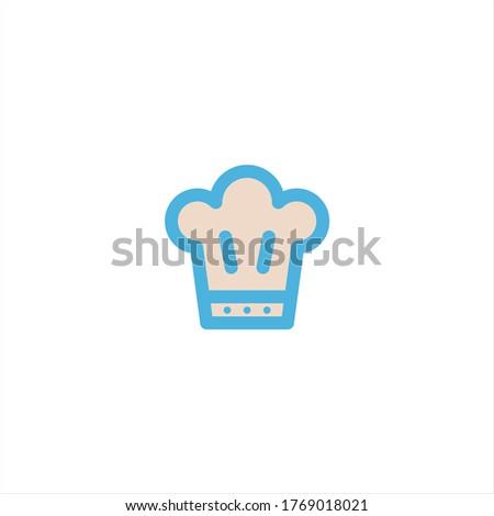chef hat icon flat vector logo design trendy illustration signage symbol graphic simple Foto d'archivio ©