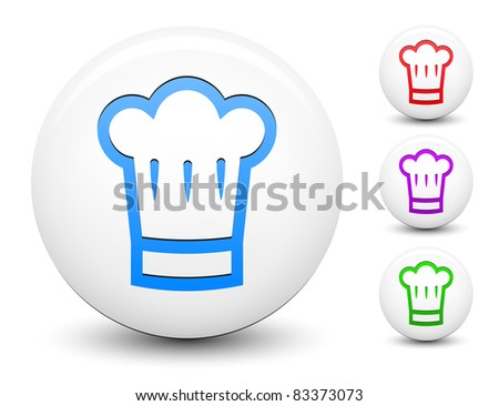 Chef Hat Icon Vector Chef Hat Icon on Round White