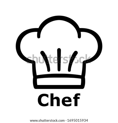 chef hat on the white background with text. toque blanche icon. Vector illustration. Foto stock ©
