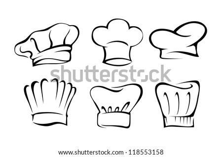Chef hat silhouette set