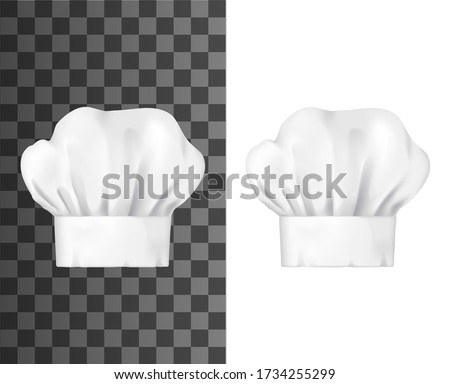 Chef hat, white toque front view isolated vector mockup. Chief cap working uniform of restaurant staff, cook clothing. Professional garment for head, pleated toque mockup design element Stock photo ©