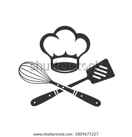 Chef Hat with cooking whisk and spatula. Label, badge, poster for food studio, cooking courses, culinary school. Cooking Class logo. Vector illustration Stock photo ©