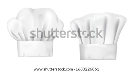 Chef hats, realistic 3d cook cap and baker toque. White chef hats vector design of bakery, pastry and restaurant uniform headwear, professional clothing of kitchen staff Foto stock ©