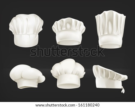 Chef hats vector set on black
