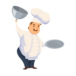 Chef in restaurant. Cute Cook in uniform holding empty dish isolated on white. Cartoon smile kitchener cooking some food and show meal on waiter. Professional master open tray cover. Catering service