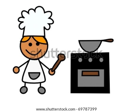 chef kid cooking a meal