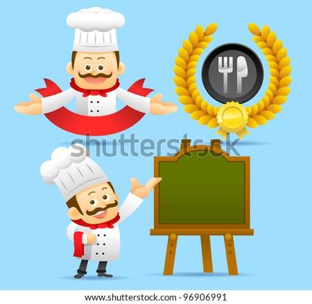 Chef,menu board,award set