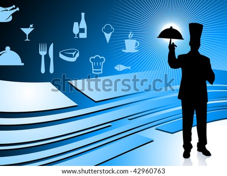 Chef on blue dinner background Original Vector Illustration