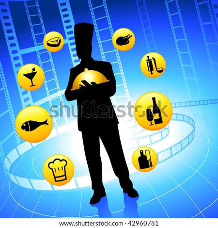 Chef on film reel background with internet buttons