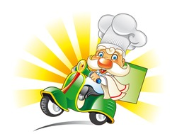 chef on scooter