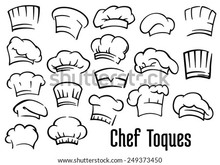 Chef or baker hats and toques set in cartoon style Foto stock ©