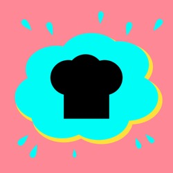Chef's cap sign. Black icon in a bubble on a pink background. Vector