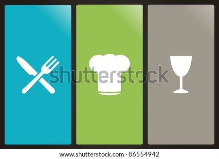 Chef's hat, fork, knife and glass