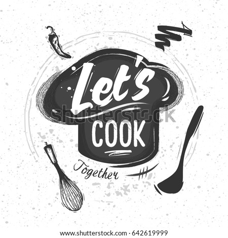 Shutterstock Chef's hat with lettering. Sketched elements of kitchen appliances. Black and White Chalk style