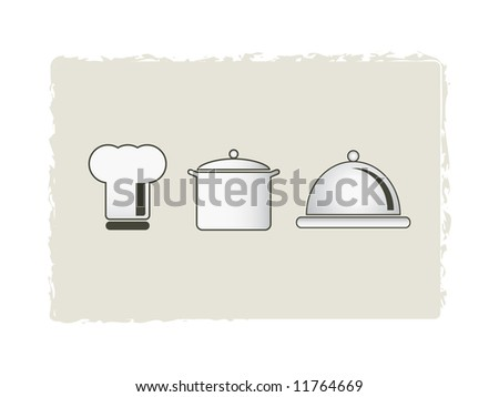 chef's hat with pot and casserole