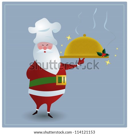 Chef Santa/Santa with chefs hat, holding golden serving dish