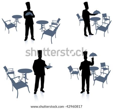 Chef silhouette at cafe Original Vector Illustration Chef on unique creative background