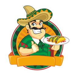Chef taco mascot cartoon in vector