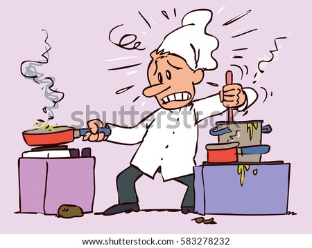 Chef too busy and stressed, cooking several recipes at once with expression of overwhelm Сток-фото ©