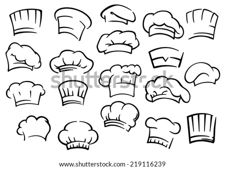 Chef toques and hats set isolated on white for restaurant, cafe and menu design Foto stock ©