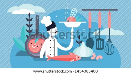 Chef vector illustration. Flat tiny professional cooking occupation persons concept. Work and job in kitchen with dishes, tasty fresh food and healthy culinary. Gourmet cook with restaurant uniform.