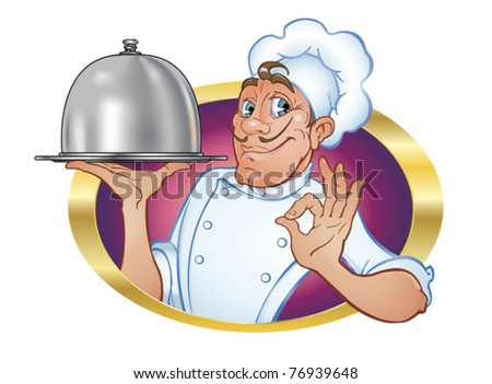 Chef. Vector illustration of a charming, cute culinary chef with a friendly, engaging broadcast gesture of satisfaction and domed tray