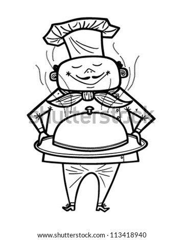 Chef With Covered Dish - Retro Clipart Illustration