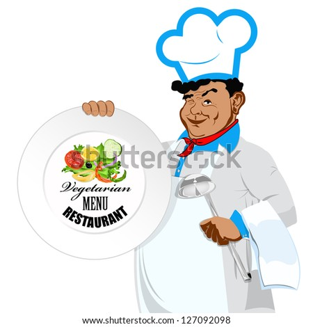 Chef with menu for vegetarian. Menu cafe