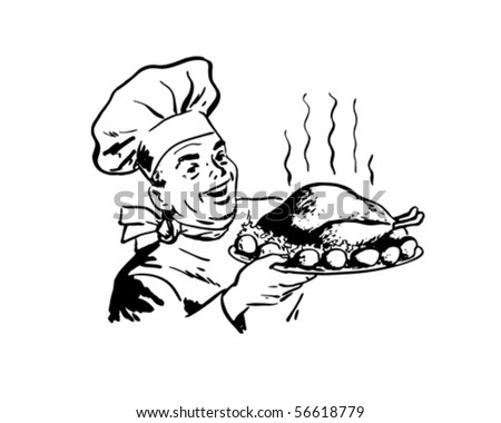 Chef With Roast Poultry - Retro Clip Art