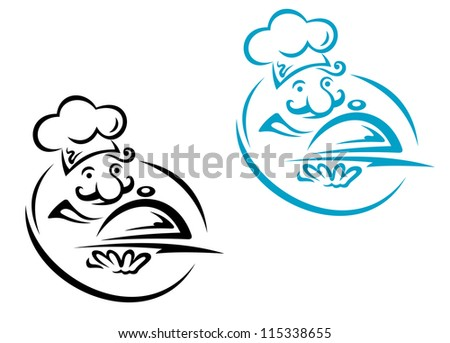 Chef with silver tray in cartoon style for restaurant design. Jpeg version also available in gallery
