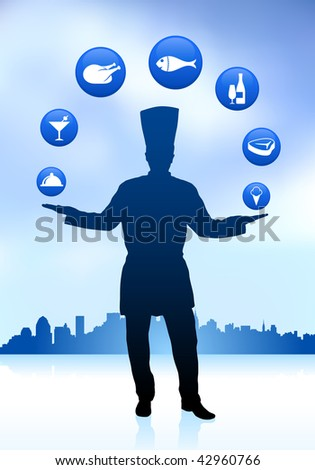 Chef with skyline and icons Original Vector Illustration