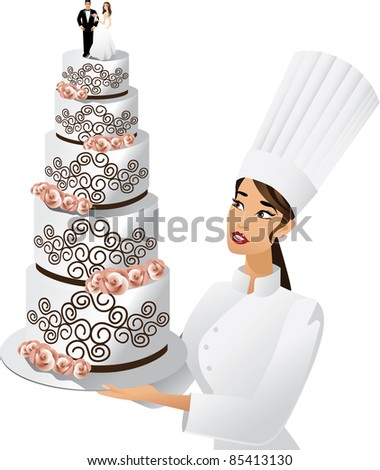 stock vector Chef with wedding cake A female chef admires her elaborate