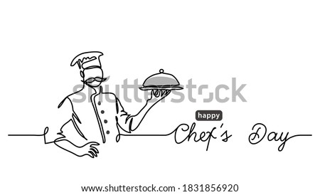 Chefs Day holiday minimalist vector web banner, border, background, poster. Border banner illustration with lettering Chefs Day. One continuous line drawing.