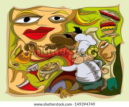 Chefs Food and Music Artwork, Vector