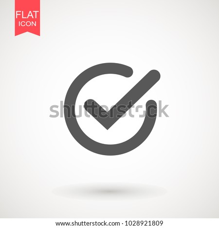 Chek, ok, yes icon approved vector illustration. Check mark icon on white background. Vector illustration
