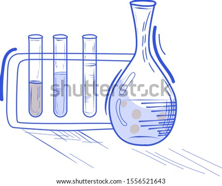 Chemical analyzer.Tests and experience in the laboratory.Hand-drawn illustration.Vector doodle.Scientific experiment.Chemistry lesson.Test tubes with substances and liquid nitrogen.Medical theme.