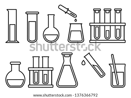Chemical equipment, chemical flasks, outline design. Vector illustration