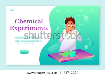 Chemical Experiments landing page template. Chemist flat character. Teenager breaking flask with toxic chemicals. Scared intern in laboratory vector illustration. Green liquid on classroom table
