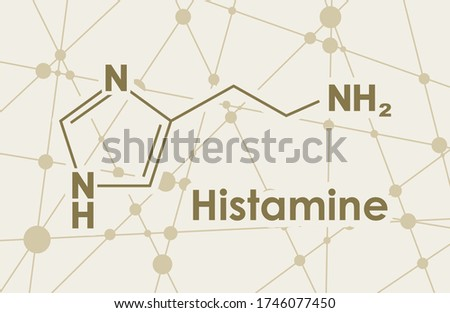 Chemical formula of histamine. Connected lines with dots background. Zdjęcia stock ©