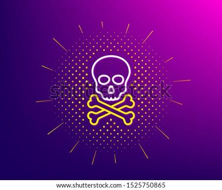 Chemical hazard line icon. Halftone pattern. Laboratory toxic sign. Death skull symbol. Gradient background. Chemical hazard line icon. Yellow halftone pattern. Vector