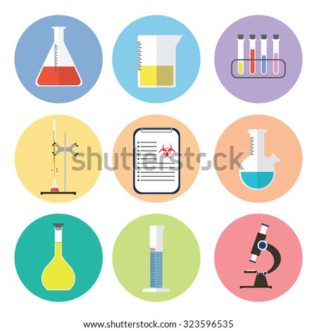 chemical icons flat design